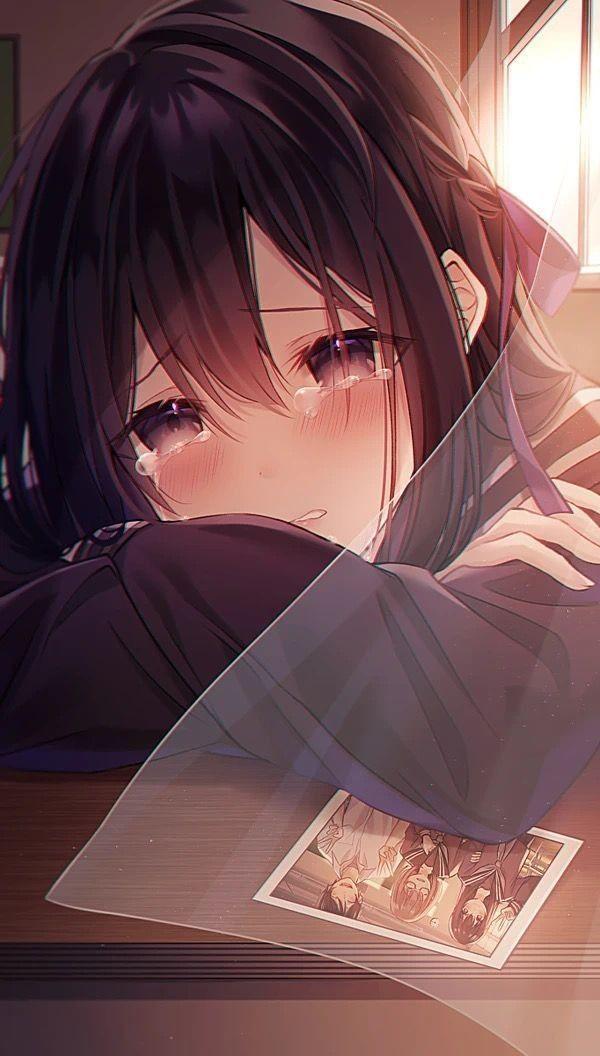 sad crying anime girl
