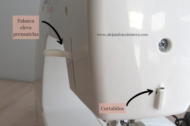 Parte posterior máquina de coser: Palanca eleva prensatelas y cortahilos