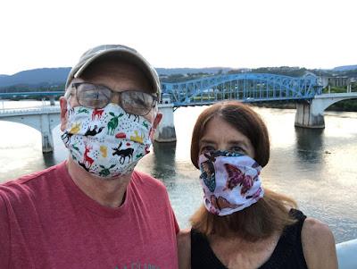 Wallace & Nancy on Walnut Street Bridge in Covid Masks