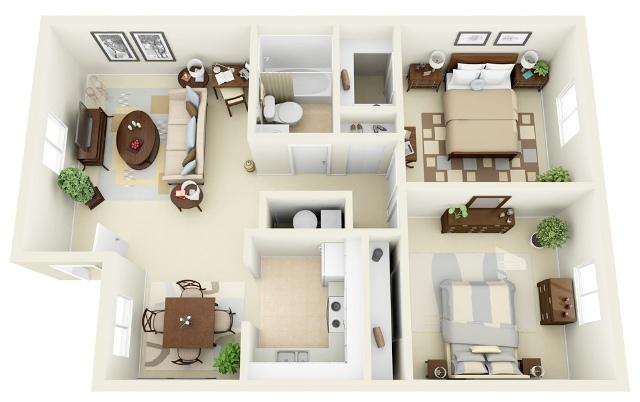 apartement 2 kamar tidur
