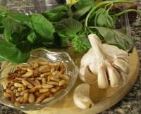 Albahaca, ajo y piñones básicos ingredientes del pesto