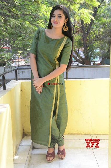 Akshitha cute beauty in Green Salwar at Satya Gang Movie Audio Success meet ~  Exclusive Galleries 001.jpg
