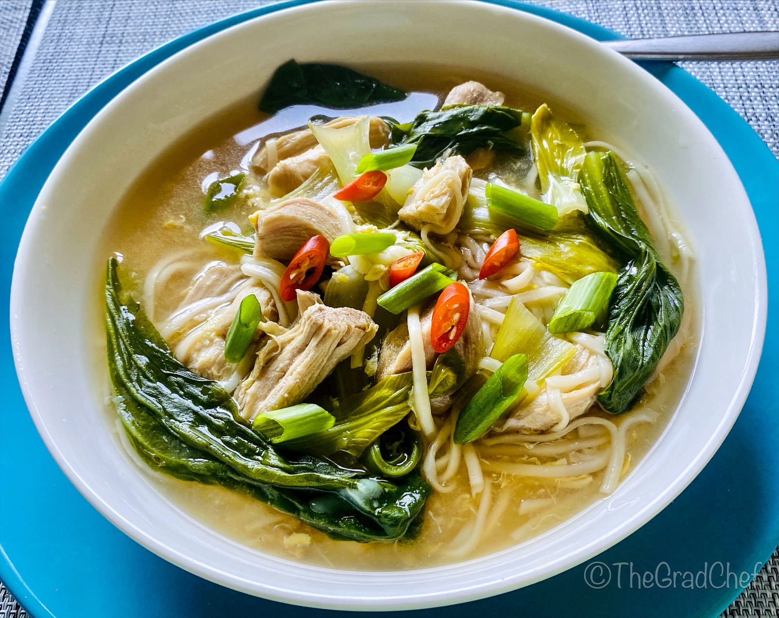CHICKEN AND BOK CHOY NOODLE SOUP