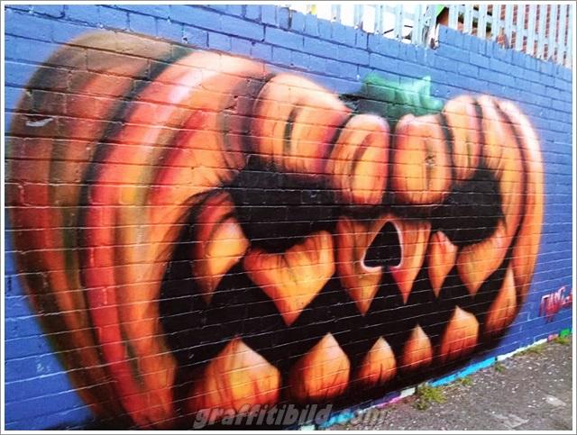 Halloween graffiti wall, halloween kürbis, halloween street art