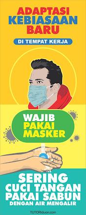 Free Desain Roll Banner Wajib Pakai Masker
