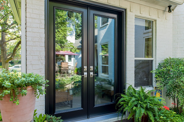 Modern Black French pation doors