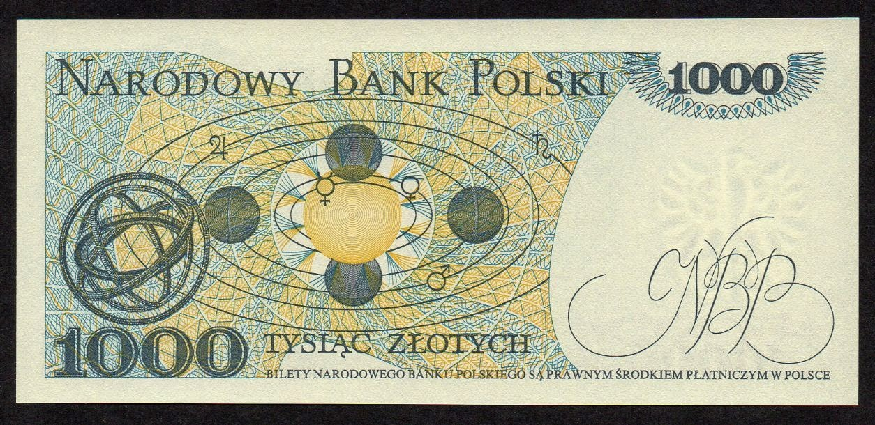 Poland Banknotes 1000 Zloty banknote, Copernican heliocentric system