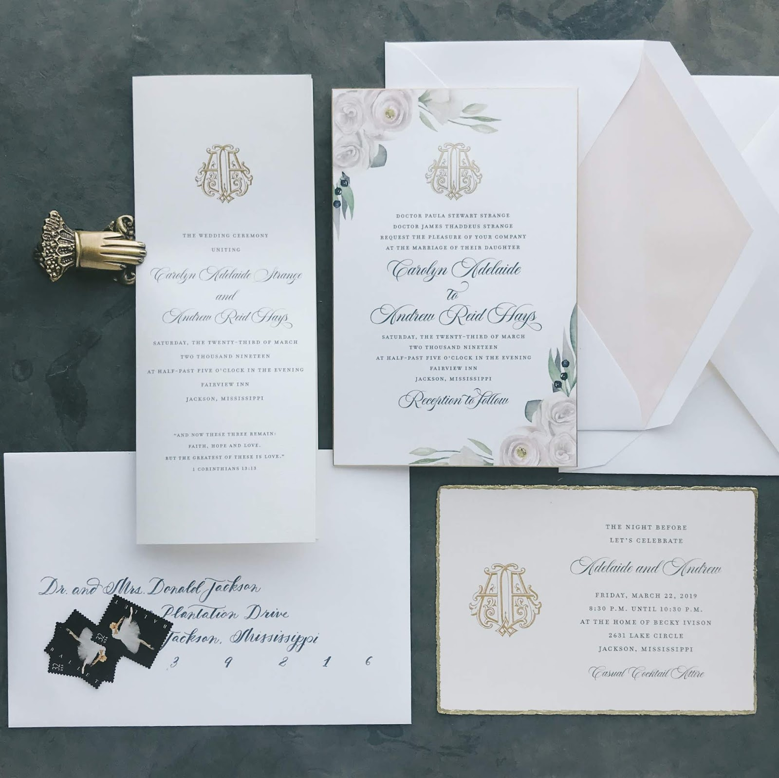 Wedding Invitations for Adelaide & Andrew