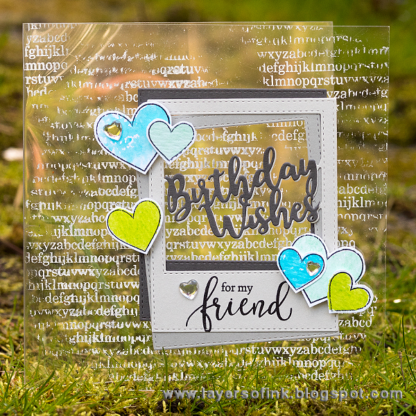Layers of ink - Birthday Wishes Frame Clear Card Tutorial by Anna-Karin