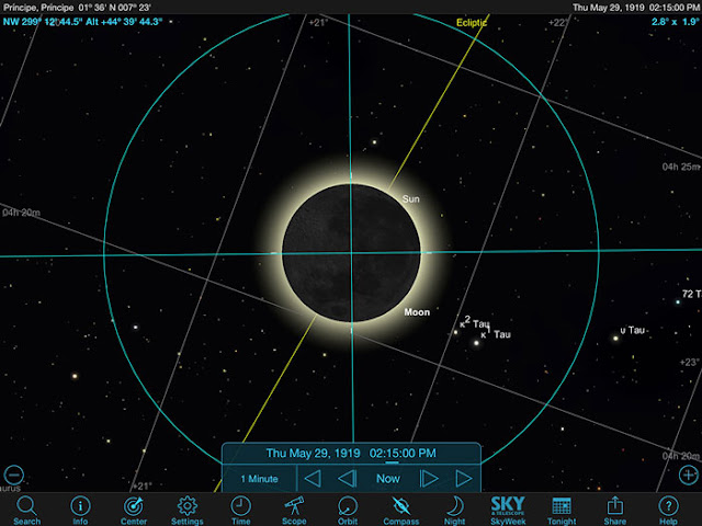 Sky Safari Pro screenshot for total solar eclipse at Principe on May 29, 1919 (Source: Palmia Observatory)