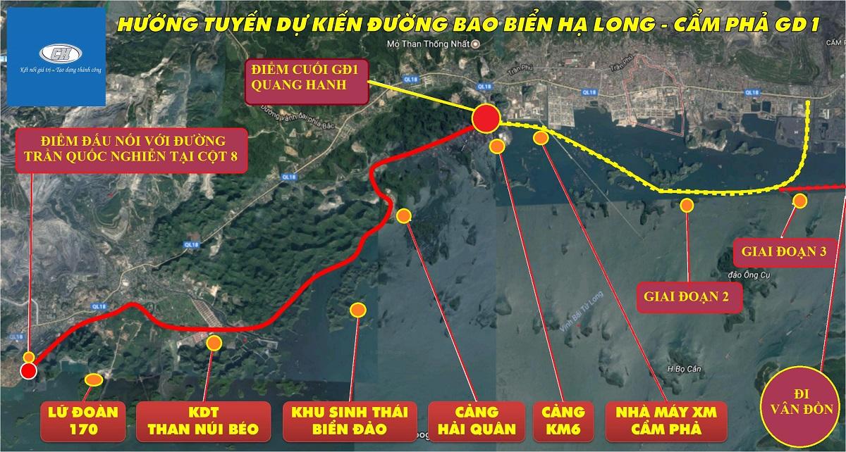Vị trí dự án TTP Cảm Phả kết nối với đường bao biển Hạ Long - Cẩm Phả