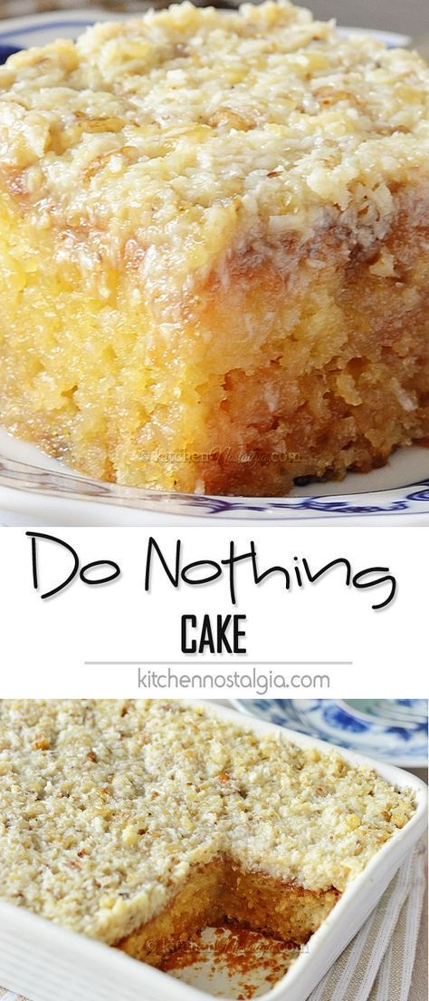 Do Nothing Cake, aka Texas Tornado Cake – pineapple dump/poke cake with coconut walnut frosting; super moist and ridiculously easy to make!