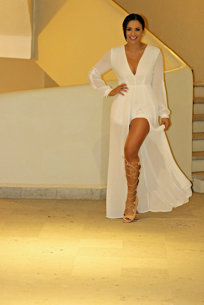 491b0877cfa On my Last night in Cabo I wore this beautiful white V-Neck Chiffon Maxi  Romper by Hot Miami Styles. When at the beach