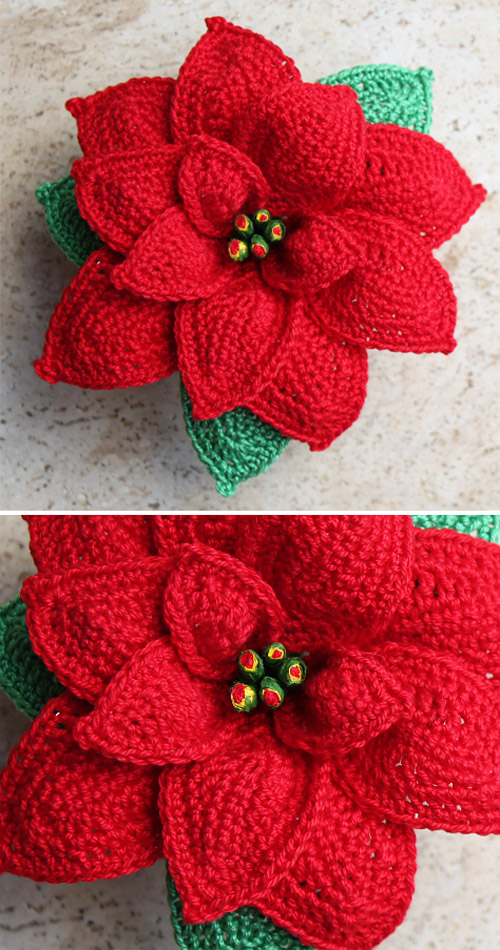 Beautiful Crochet Poinsettia - Free Pattern