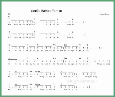not angka lagu yamko rambe yamko