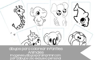 Imprimir y colorear dibujos infantiles de animales