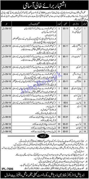 Social Welfare & Bait ul Maal Department Lahore Jobs 2021 in Pakistan