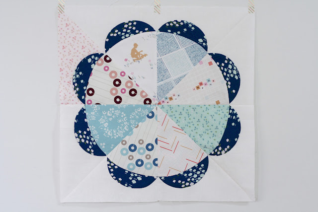 Gathering Flowers Quilt Block in Art Gallery Playground Fabrics by Amy Sinibaldi