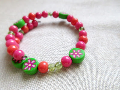 Bright pink green physics sciart jewelry bracelet