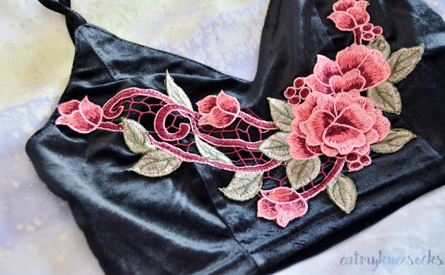 Black velvet rose applique floral embroidered bralette/cropped cami top from SheIn.