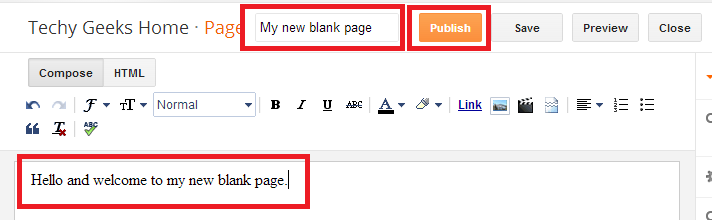 How to add a custom static page to your blog and not adding it to your menu tabs - Google Blogger 3