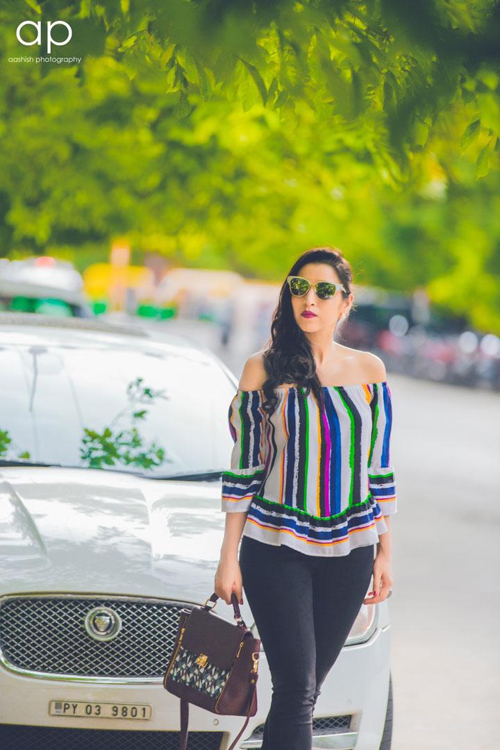 5365ba49766001 Boho Stripes Off-Shoulder Blouse - MissaMore Cateye Sunglasses - MissaMore  Bag - MissaMore · Photography - Aashish Photography The off shoulder top is  no ...