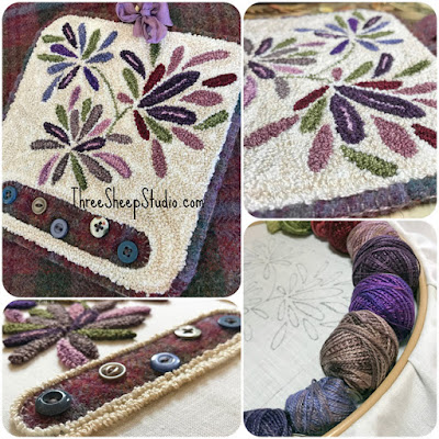 'Cleome' Punch Needle Design by Rose Clay at ThreeSheepStudio.com  , click on 'Studio/Shop'