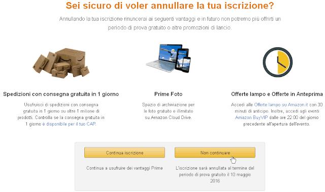 Pulsante per annullare Amazon Prime