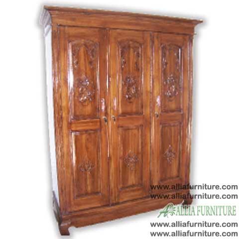 lemari pakaian kayu jati 3 pintu kecil
