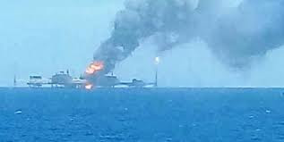 Fire on Oil Platform in Gulf of Mexico