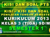Penilaian Tengah Semester (PTS) Kelas 3 Semester 1 Tahun Pelajaran 2020 - 2021
