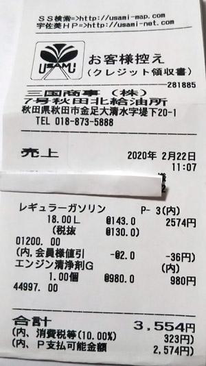 出光昭和シェル 7号線秋田北給油所 2020/2/22 のレシート