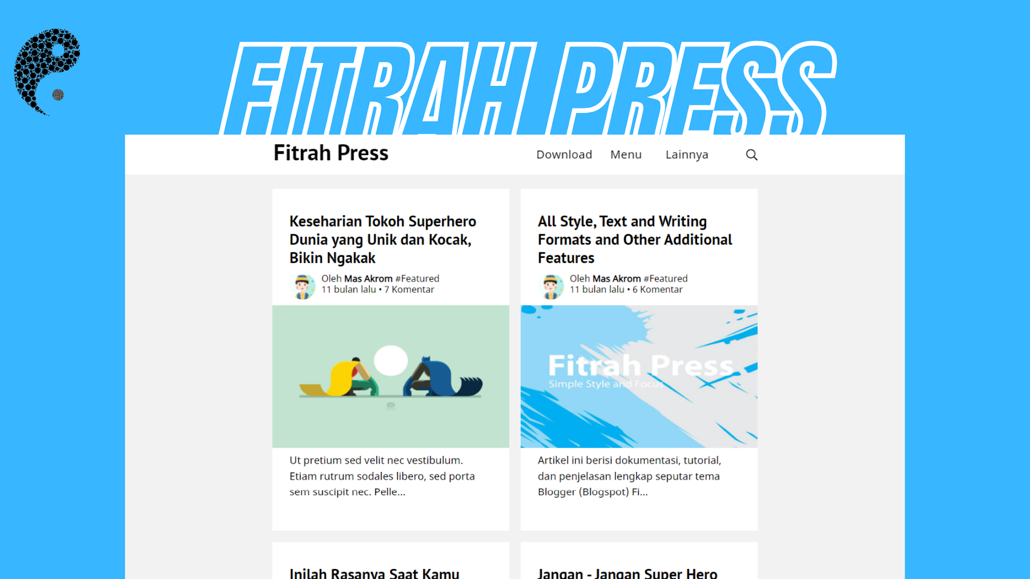 Fitrah Press - Blogger Template Free Super Simple Generate Press