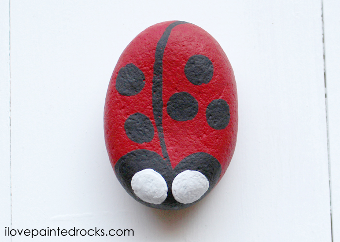 how to paint a ladybug on a rock