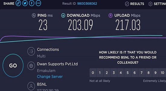 BSNL launched ultra fast 200 Mbps FTTH broadband plan with 1.5TB usage @ just Rs 1999/-