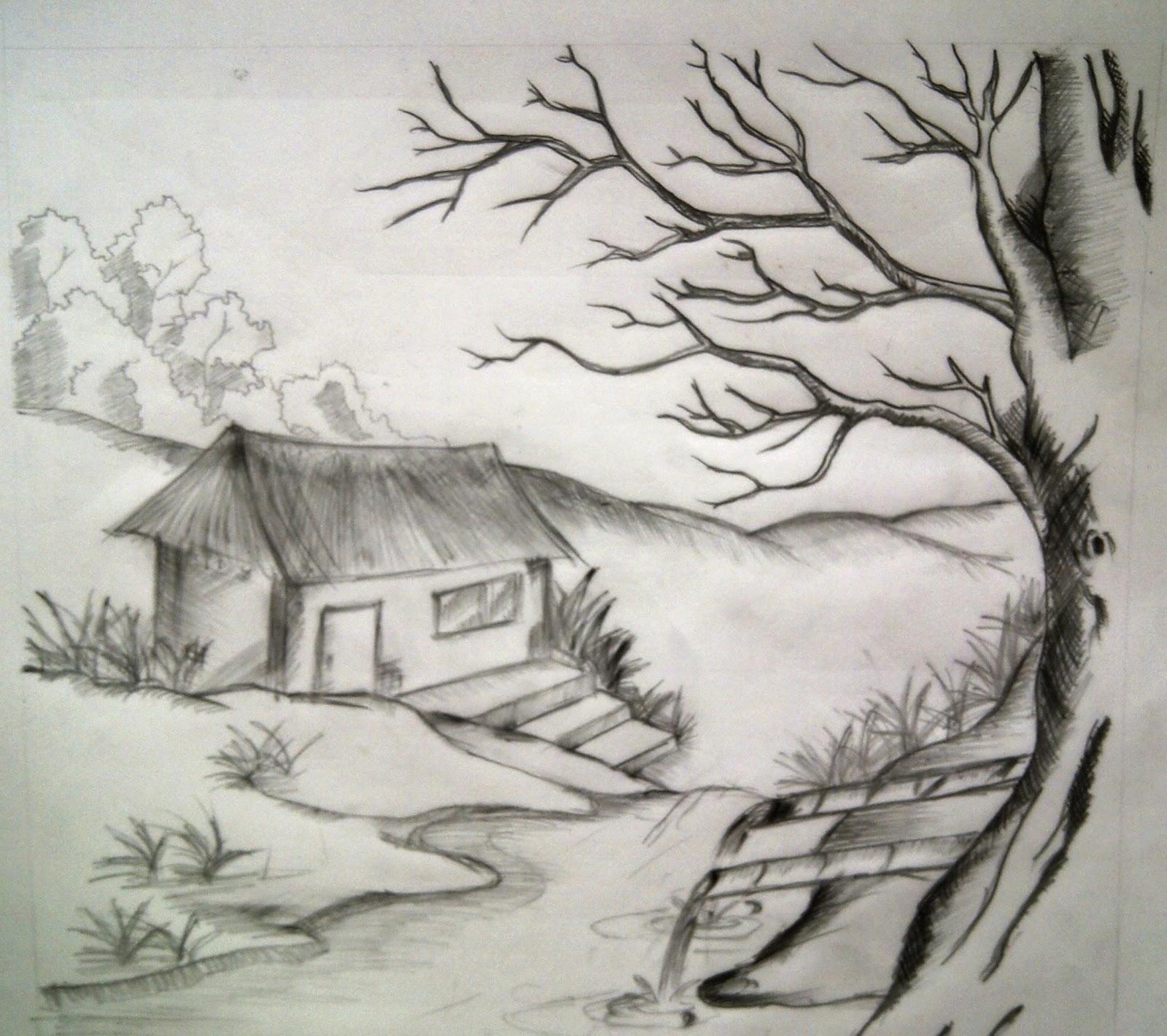 Sketsa Lukisan Pemandangan Alam Yang Mudah Ditiru