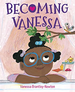 Black girl looking up at butterfly on a branch with book title above