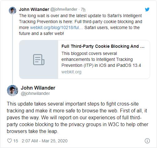 Safari 比 Chrome 早兩年全面禁止第三方 Cookie