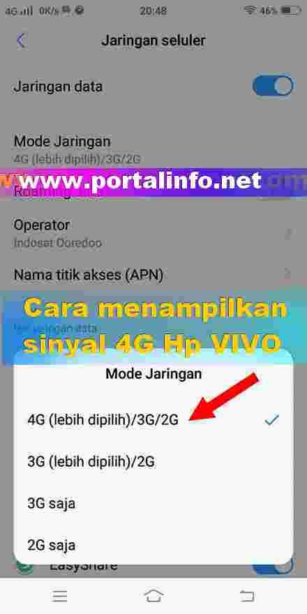 Cara menampilkan jaringan Sinyal 4G di VIVO Y71  Portal Info