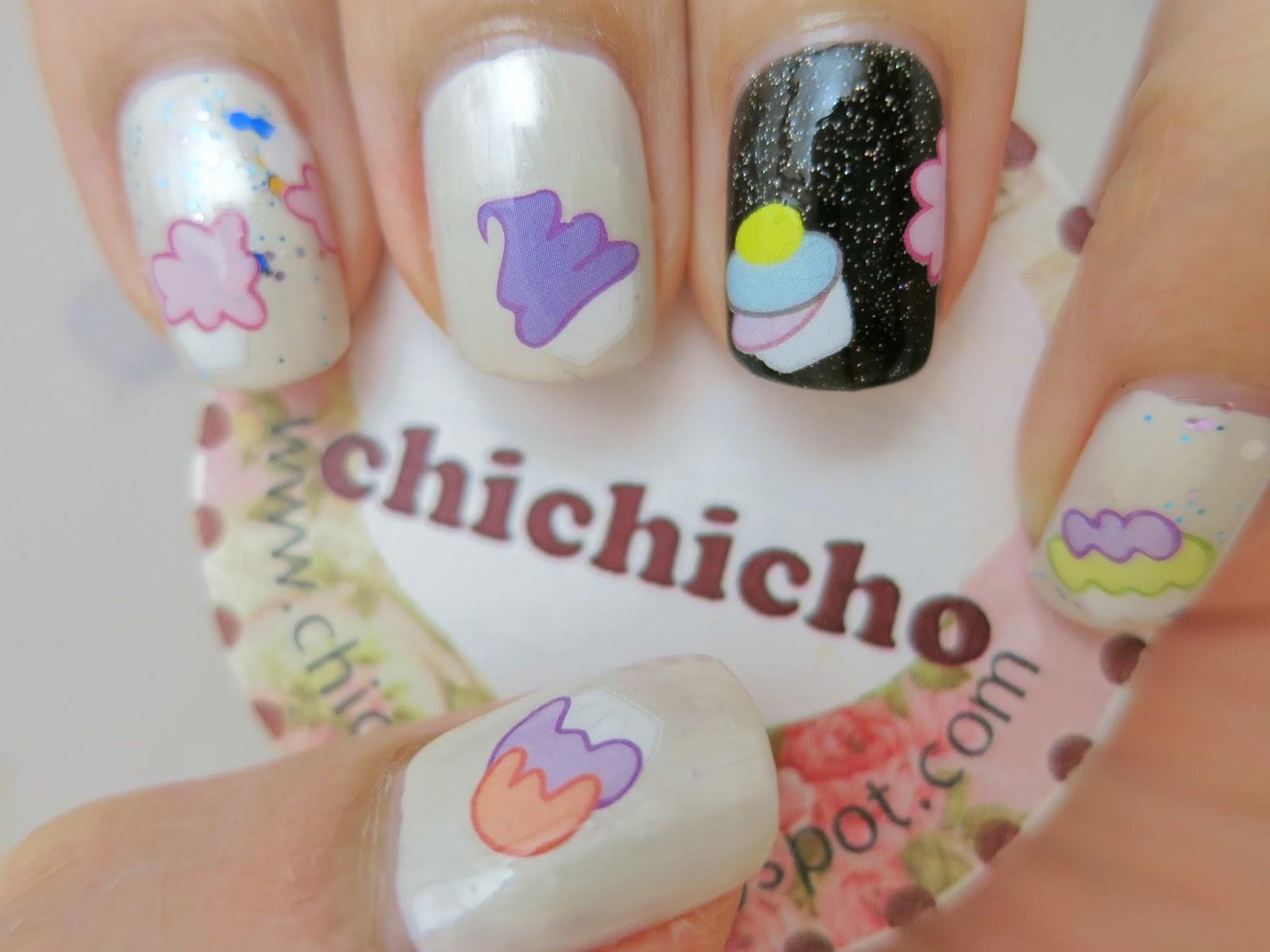 Ble2050 Creamy Cupcake Water Decal Nail Art Chichicho