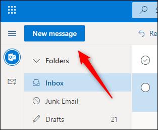 قم بإنشاء زر بريد إلكتروني جديد