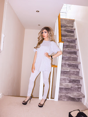 The Femme Luxe Grey Oversized T-Shirt & Leggings Loungewear Set in model Everleigh.