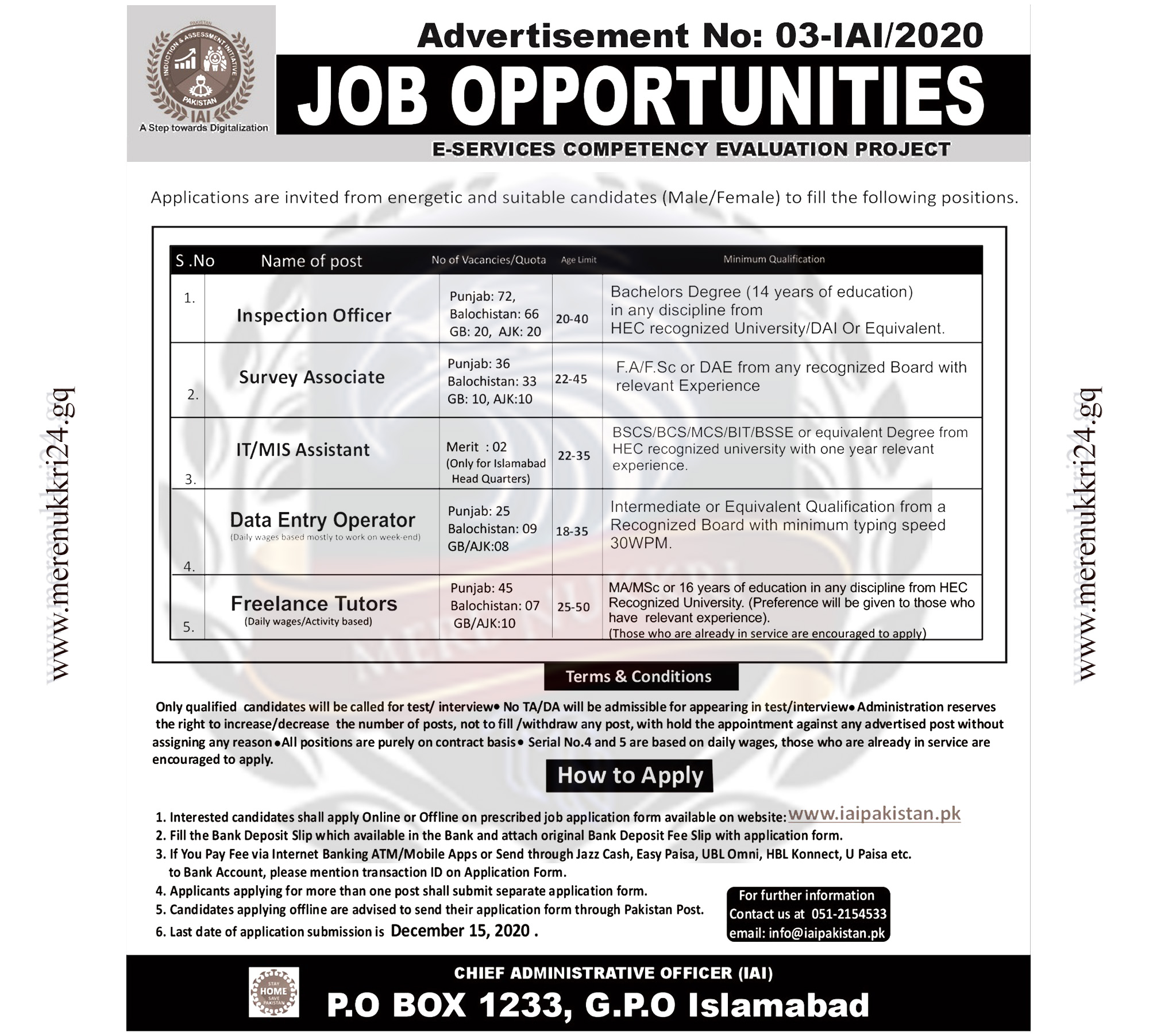 Induction And Assessment Initiative IAI Jobs 2020 Online Apply: Merenukkri24.gq