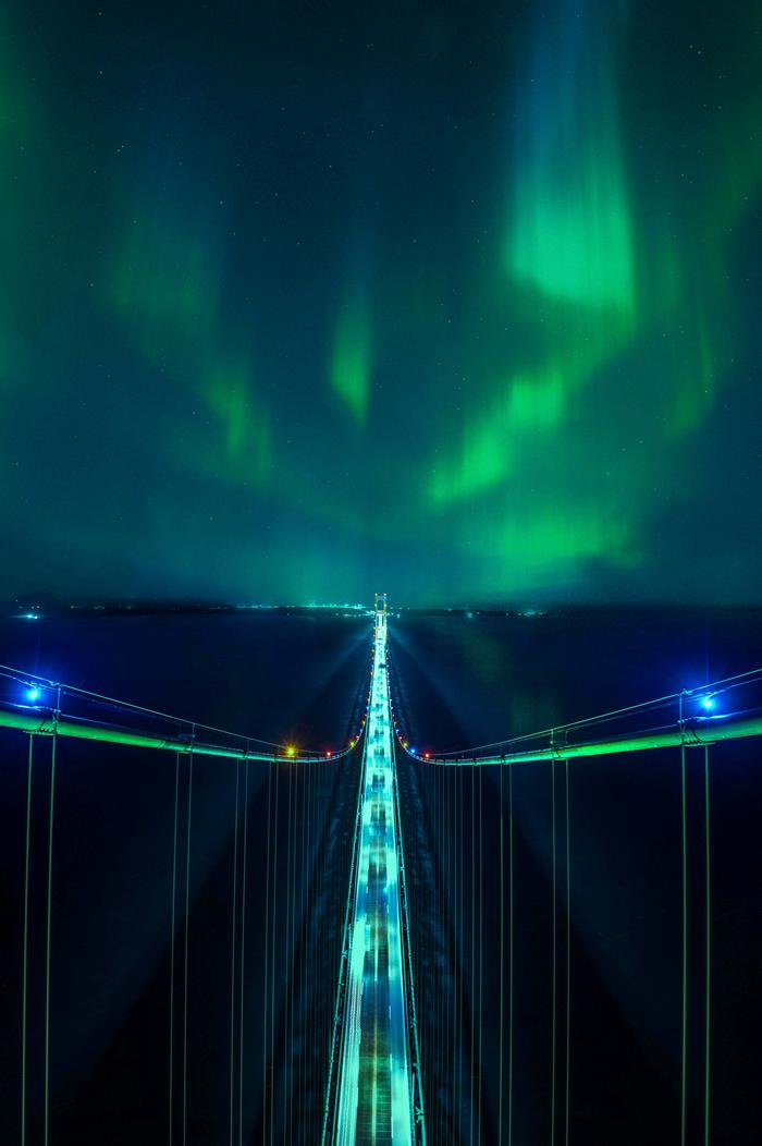 Northern Lights From The Top Of The Mackinac Bridge
