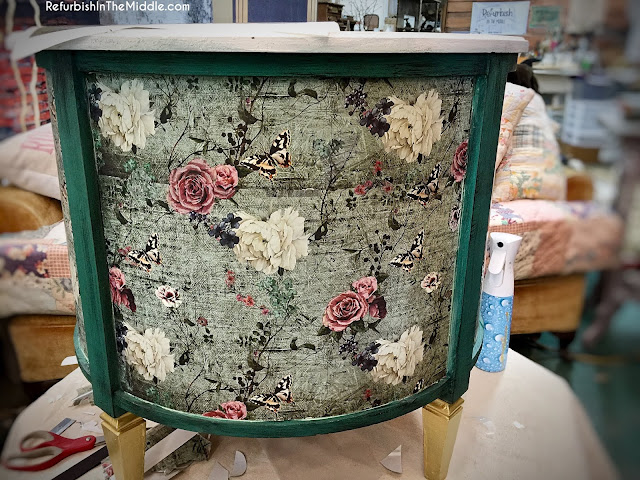 70's vintage round drum table makeover with Prima Redesign Transfers flowers and butterflies
