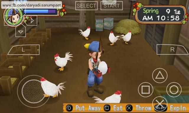 harvest moon hero of leaf valley psp game working ronald chicken coop