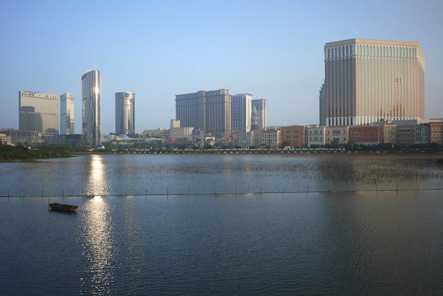 Baía de Nossa Senhora da Esperança Wetland Ecological Viewing Zone and casinos in the distance in 2012