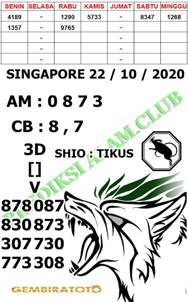 Kode syair Singapore Kamis 22 Oktober 2020 167