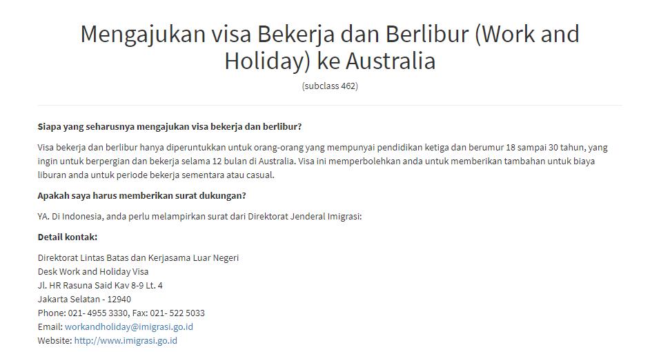 Proses Pengajuan Work And Holiday Visa Ke Australia Ecopink