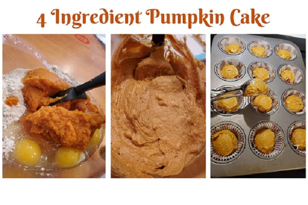 this is a collage of pumpkin, the batter and cupcakes using a cake mix